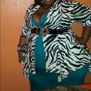 Black an white zebra print cardigan